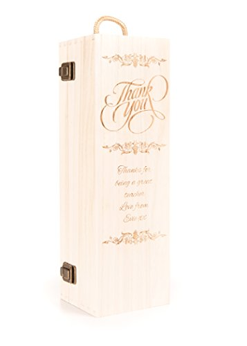 Personalised Engraved Wooden Wine Gift Box Thank You Champagne Prosecco Bottle Teacher's Gift from Hoolaroo