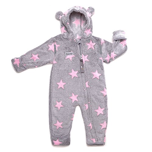 Hoppediz Overall Fleece (Size 48 to 52, Grey with Pink Stars) from Hoppediz