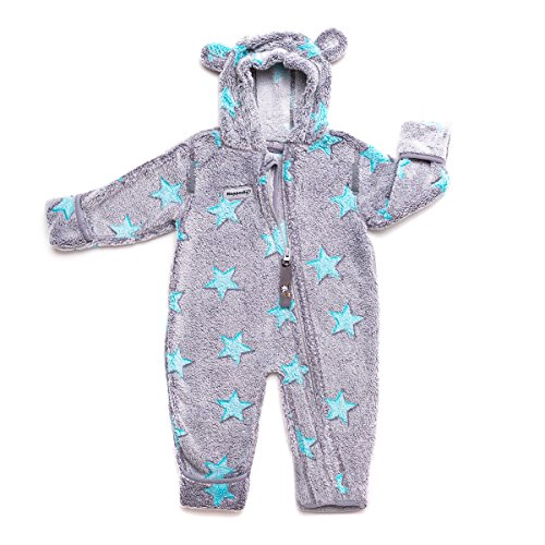 Hoppediz Overall Fleece (Size 56 to 62, Grey with Blue Stars) from Hoppediz