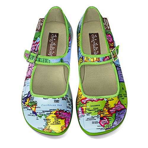 Hot Chocolate Design Chocolaticas Bon Voyage Women's Mary Jane Flat Multicoloured HCD 35 from Hot Chocolate Design