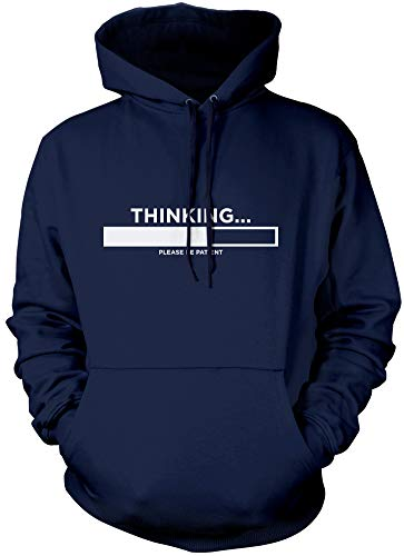 HotScamp Thinking Please Be Patient - Funny Slogan - Unisex Hoodie (X-Large, Navy) from HotScamp