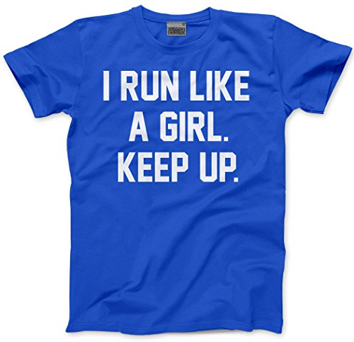 I Run Like A Girl.Keep up - Running Marathon 5k - Kids T-Shirt - Runner Running Girl Power This Girl can 10k - Age 9/11-34'' Blue from HotScamp