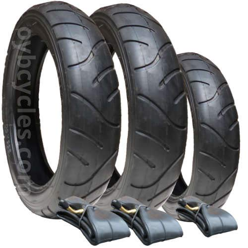 iCandy 3 Wheeler Tyres and Inner Tubes - set of 3 - Puncture Protected from Hota