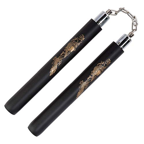 Hotmall Foam Nunchucks Padded Training Practice Nunchakus Safety Martial Arts Nunchucks for Kids Beginners (Black, 11.8inch / 30cm) from Hotmall