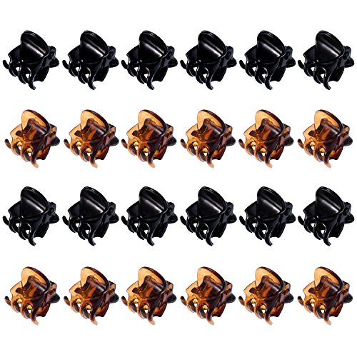 Mini Hair Clips Plastic Hair Claws Pins Clamps for Girls and Women (Black and Brown) from Hotop