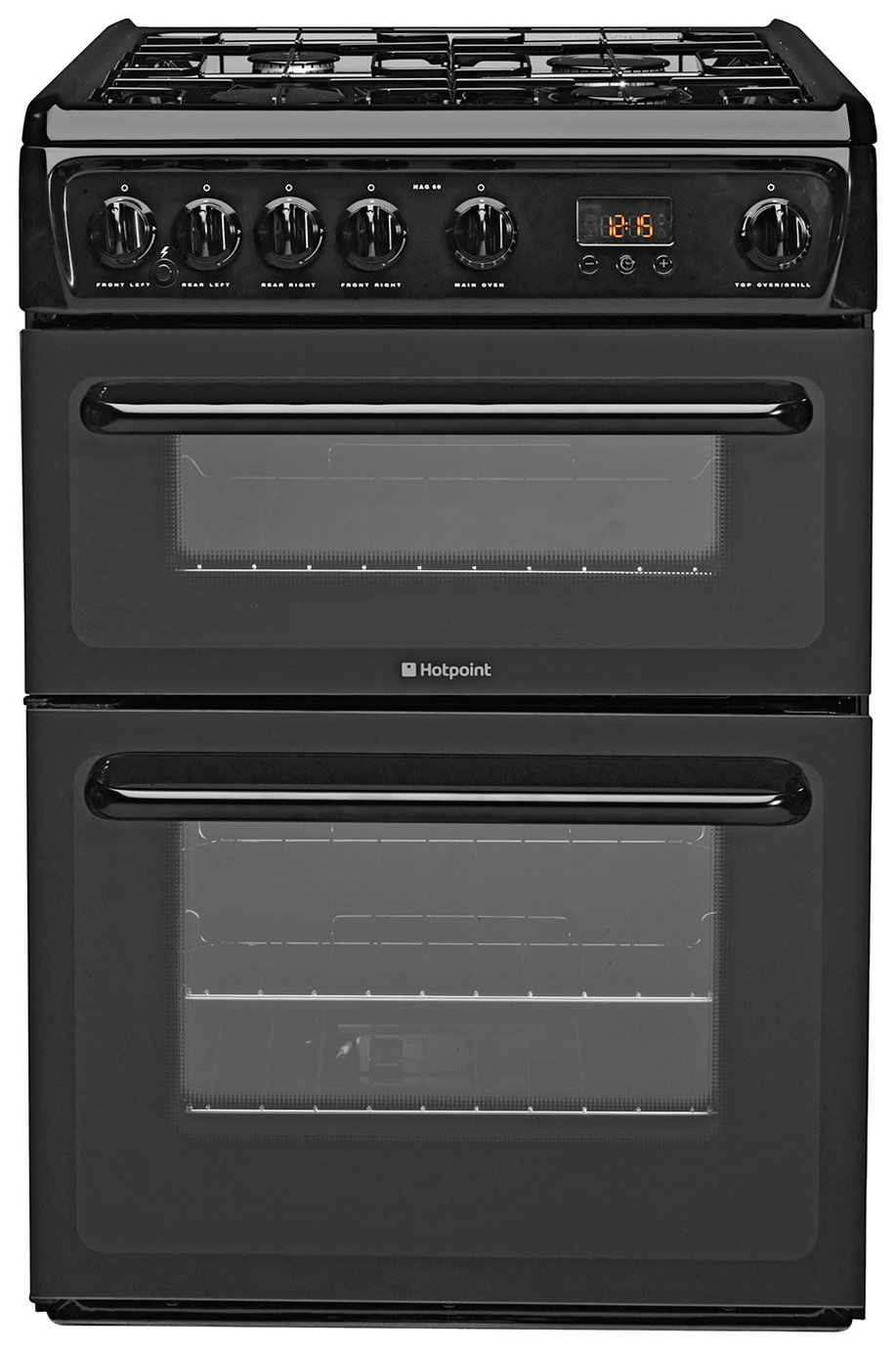 Hotpoint HAG60K 60cm Double Oven Gas Cooker - Black from Hotpoint
