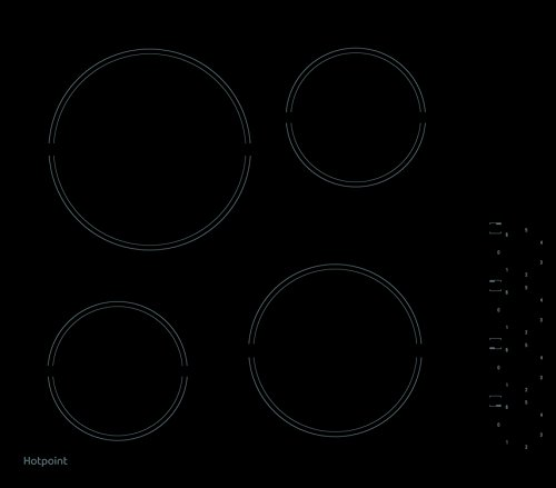 Hotpoint HR619CH 58cm Four Zone Ceramic Hob With Side Controls - Black from Hotpoint