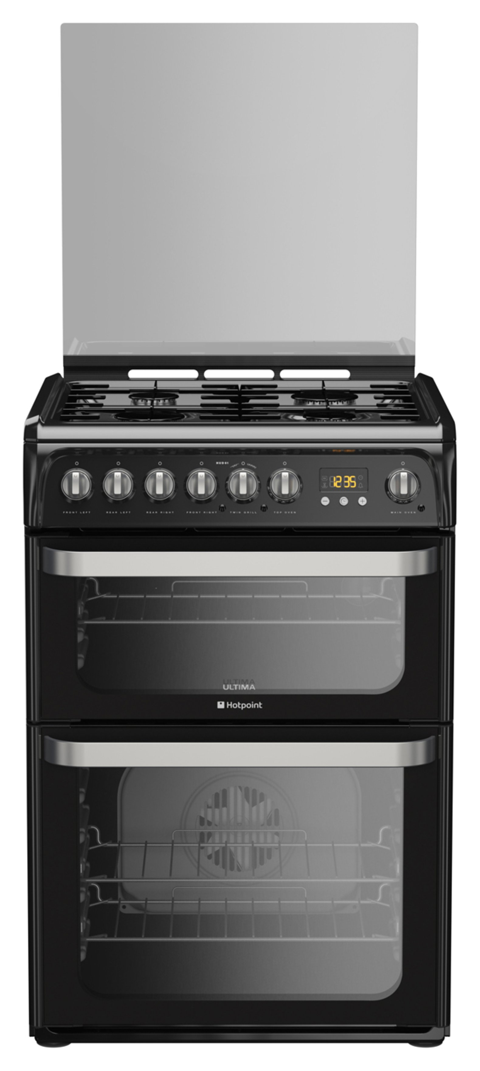 Hotpoint HUD61KS Double Dual Fuel Cooker - Black. from Hotpoint