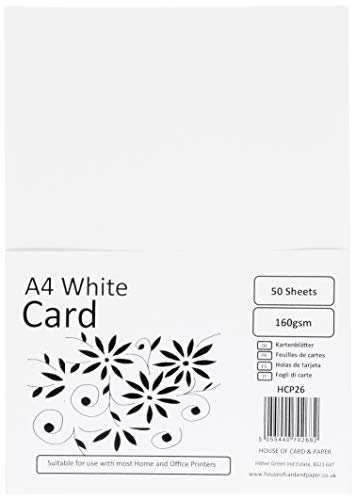 House of Card & Paper A4 160 gsm Card - White (Pack of 50 Sheets) from House of Card & Paper