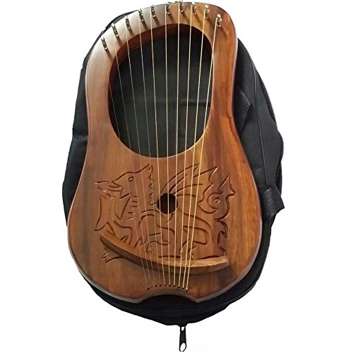 Brand New Lyre Harp Engraved Celtic Welsh Dragon/Lyra Harp Sheesham Wood Dragon from House of Highland 77