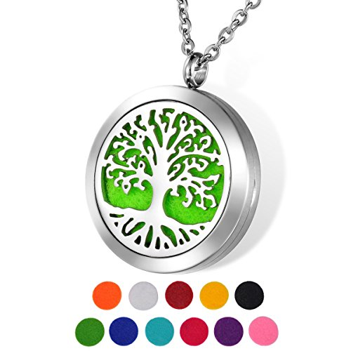 "HOUSWEETY Aromatherapy Essential Oil Diffuser Necklace, Stainless Steel Hollow Tree of Life Pendant with 24"" Chain + 11 Felt Pads from Housweety"
