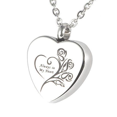 "HOUSWEETY Cremation Jewellery Stainless Steel ""Always in My Heart"" Urn Pendant Heart Necklace Memorial Ash Keepsake - Personalised Engraved Gift from Housweety"