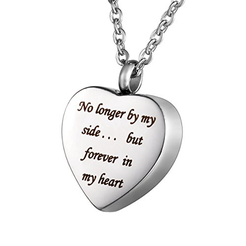 "HOUSWEETY Cremation Jewellery Stainless Steel ""No longer by my side... but forever in my heart"" Heart Urn Pendant Necklace - Memorial Ash Keepsake from Housweety"