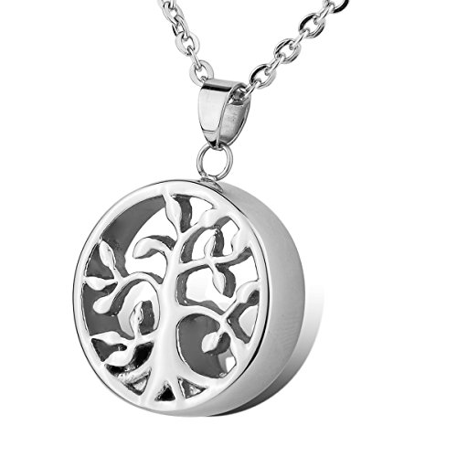 HOUSWEETY Cremation Jewellery Stainless Steel Tree of Life Charm Urn Pendant Necklace - Memorial Ash Keepsake from Housweety