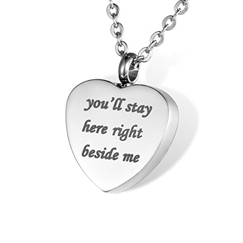 "HOUSWEETY Cremation Jewellery Stainless Steel ""you'll stay here right beside me"" Urn Pendant Necklace - Keepsake Ashes Memorial from Housweety"
