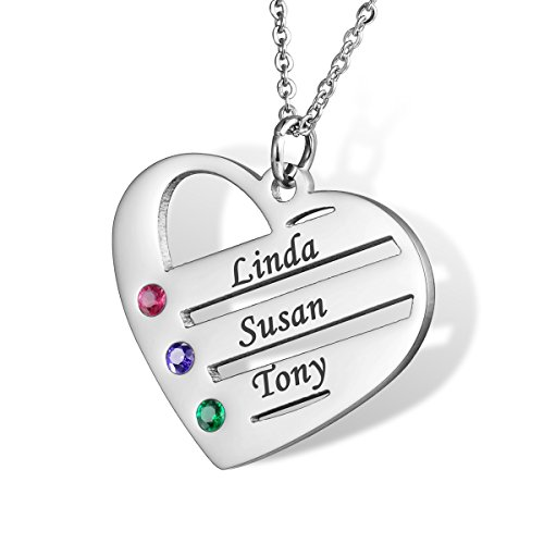 HOUSWEETY Personalised Engraved Heart Necklace Family Pendant BFF Keepsake with Birthstones - Custom Made & Personalised with 3 Names! from Housweety