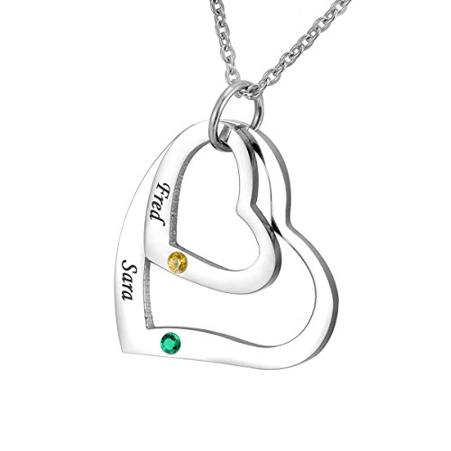 HOUSWEETY Personalised Engraved Love Hearts Necklace Family Names Pendant BFF Couple Keepsake with Birthstones - Custom Made & Personalised with 2 Names! from Housweety