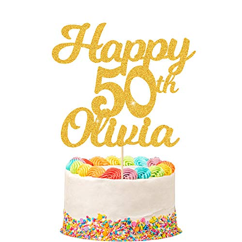 Personalised Happy 50th Birthday Cake Topper - Personalised with Any Name and with Any Age 16, 18, 21, 30, 40- Made from 400 Gram Double Sided Non-shed Glitter Card from Howson London