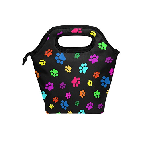 hunihuni Colorful Animal Dog Cat Paw Print Insulated Thermal Lunch Cooler Bag Tote Bento Box Handbag Lunchbox with Zipper for School Office Picnic from Hunihuni