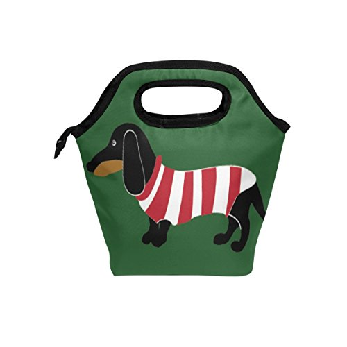 hunihuni Sausage Dog Insulated Thermal Lunch Cooler Bag Tote Bento Box Handbag Lunchbox with Zipper for School Office Picnic from Hunihuni