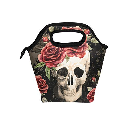 hunihuni Watercolor Gothic Skull Rose Insulated Thermal Lunch Cooler Bag Tote Bento Box Handbag Lunchbox with Zipper for School Office Picnic from Hunihuni