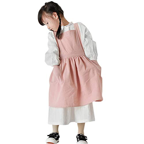 IBLUELOVER Girls Lovely Art Crafts Smock Apron Stylish Cotton Linen Children Aprons With Pockets Baking Cooking Clothes For Kids Girls DIY Painting Sleeveless Pinafore Apron Keep Clean 3-10 Years from IBLUELOVER