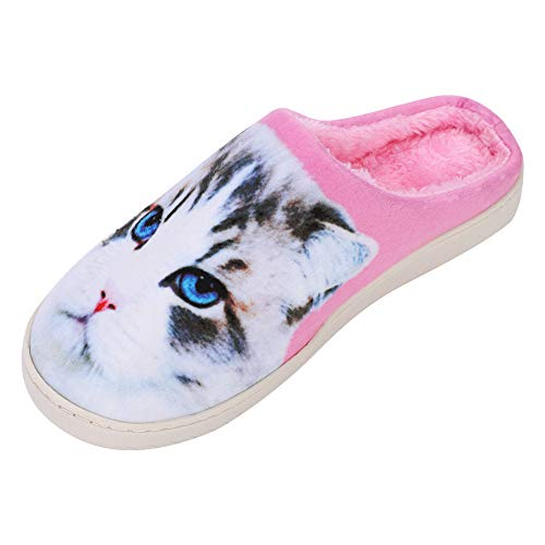 Slippers Women Men Cute Cat Slippers Dog Slippers Plush Comfort Slippers Anti-Skid Sole Winter Warm Mule Slippers Print Animal Slippers Slip On House Shoes Indoor Outdoor Flat Slippers Pink from IBLUELOVER