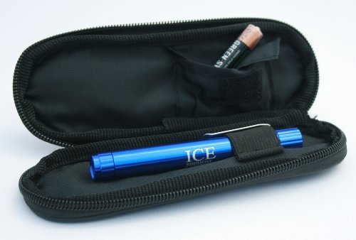 ICE Medical Blue LED Medical Penlight / Pentorch Pocket Torch Light with Zip Up Black Pouch from ICE Medical