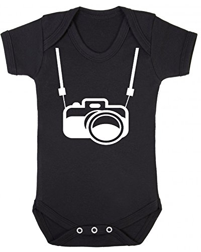 Camera and Strap Novelty Baby Vest Babygrow Sleepsuit Baby Christening Black (0-3 Months) from ICKLE PEANUT