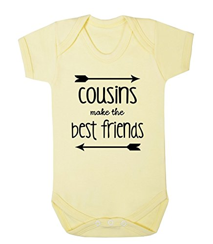 Cousins Make The Best Friends Baby Vest Babygrow Bodysuit Novelty Family Baby (6-12 Months, Lemon) from ICKLE PEANUT