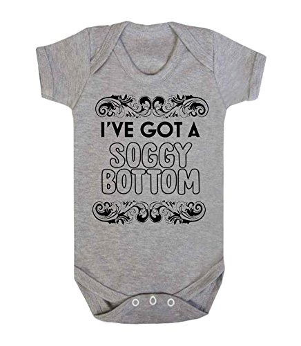 I've Got a Soggy Bottm Novelty Baby Vest Sleepsuit Babygrow Funny Bake Off Baby Shower Gifts New Baby Gifts (0-3 Months, Grey) from ICKLE PEANUT