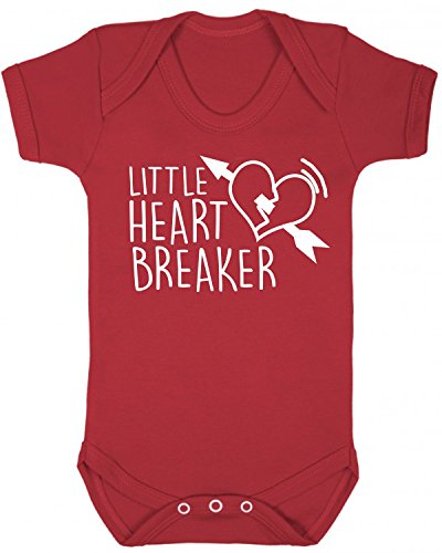 Little Heart Breaker Baby Vest Babygrow Bodysuit Baby Shower Gifts Baby Gifts Red (6-12 Months) from ICKLE PEANUT
