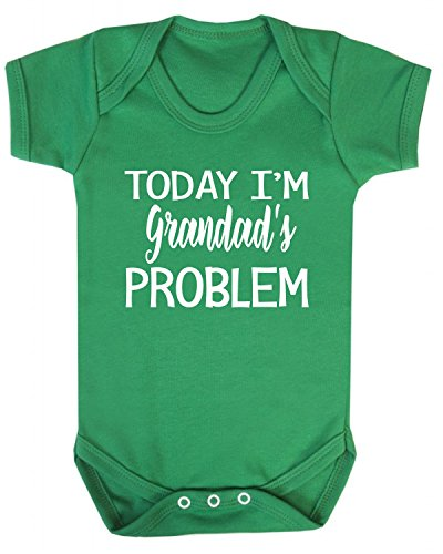 Today I'm Grandad's Problem Baby Vest Babygrow Bodysuit Baby Shower Gifts New Grandparent Gifts Novelty Green (0-3 Months) from ICKLE PEANUT