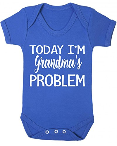 Today I'm Grandma's Problem Baby Vest Babygrow Bodysuit Baby Shower Gifts New Grandparent Gifts Novelty Blue (6-12 Months) from ICKLE PEANUT