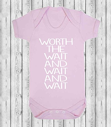 Worth The Wait and Wait and Wait Baby Vest Babygrow Bodysuit Baby Reveal Pregnancy Annoucment IVF 0-3 Months (Pale Pink) from ICKLE PEANUT