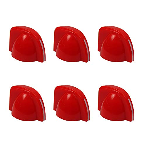 IKN Chicken Head Style Plastic Knobs for Guitar Bass Amp Amplifier,Red(Pack of 6 pcs) from IKN