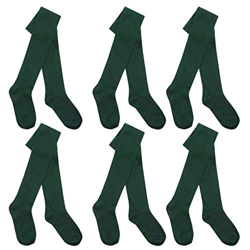 I.L.C.K Girls 6 Pairs Back To School Plain Cotton Rich Tights, 5-6 Years, Green 6-pack from ILCK