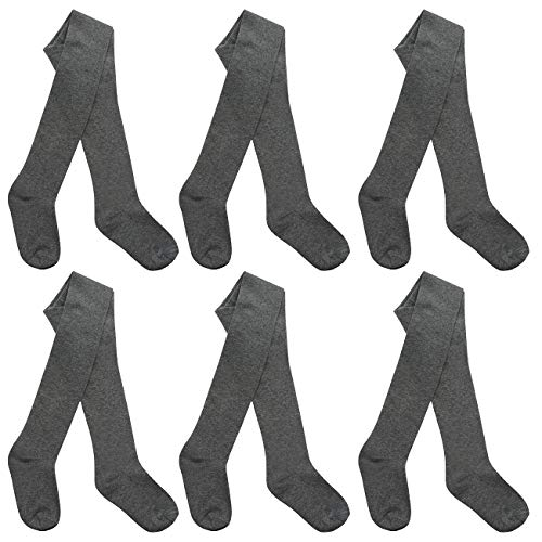 I.L.C.K Girls 6 Pairs Back To School Plain Cotton Rich Tights, Grey 6-pack, 3-4 YEARS from ILCK