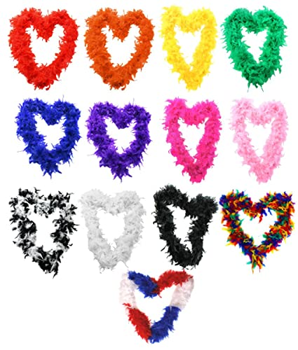 6 X FEATHER BOA 65G THICK HEN NIGHT ACCESSORY FANCY DRESS FLAPPER BOAS IN 10 COLOURS 1920'S BURLESQUE FEATHERS (BLACK WHITE MIX) from ILOVEFANCYDRESS