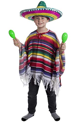 ILOVEFANCYDRESS CHILDS MEXICAN BOY FANCY DRESS COSTUME PONCHO + MULTICOLOURED SOMBRERO WITH WHITE POM POMS WILD WEST BANDIT KID from ILOVEFANCYDRESS