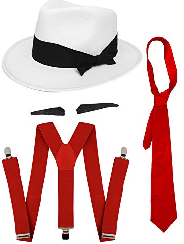 GANGSTER FANCY DRESS ACCESSORY SET SPIV TASH + RED TIE + MATCHING BRACES + WHITE TRILBY HAT 1920'S MOB GANGSTER MEN AL CAPONE (RED ACCESSORIES - 60 CM HAT) from ILOVEFANCYDRESS