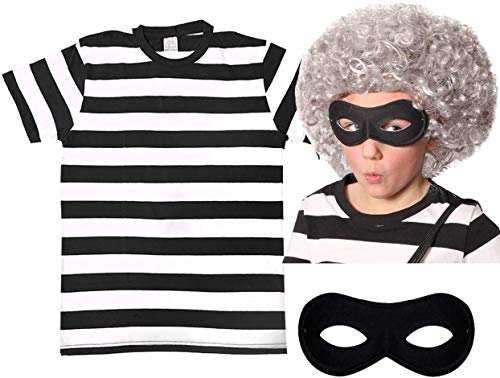 GIRLS GRANNY WIG + MASK + BLACK AND WHITE STRIPED T-SHIRT PERFECT FOR SCHOOL BOOK WEEK AND WORLD BOOK DAY OR ANY CHILDRENS FANCY DRESS PARTY AVAILABLE IN SIZE MEDIUM AGE 7-9 from ILOVEFANCYDRESS