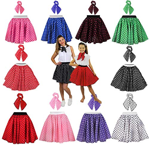 "LADIES POLKA DOT SKIRT 1950'S FANCY DRESS COSTUME - 17"" LONG POLKA DOT SKIRT + SCARF ROCK AND ROLL SWING OUTFIT (LADIES UK 14-18 