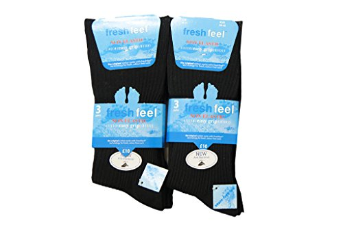 6pairs Mens Loose Grip Non Elastic Cotton Blend Ribbed Socks Office Diabetic Socks UK Shoe Size 6-11 Black from Louise23