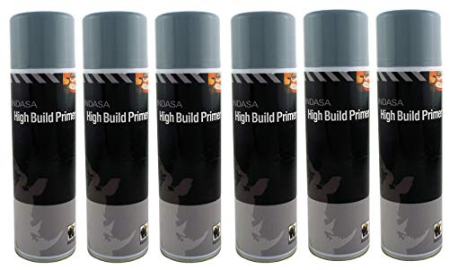 INDASA 6 x Grey High Build Acrylic Based Primer 500ml Aerosol Excellent Adhesion from INDASA