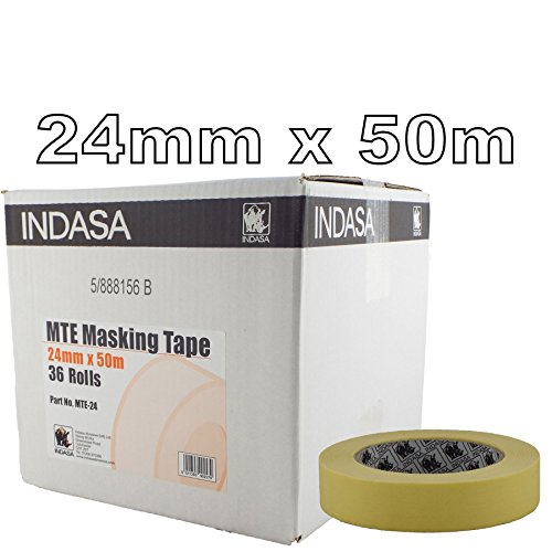 "Indasa 24mm Low Bake Masking Tape 1"" - Box of 36 Rolls - Low Residue - Suitable For Use In Low Bake Ovens from INDASA"