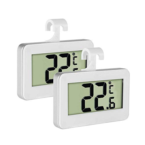 Fridge Thermometer Refrigerator Thermometer,INRIGOROUS Pack of 2 LCD Digital Fridge Freezer Thermometer Monitor with Hanging Hook and Retractable Stand from INRIGOROUS