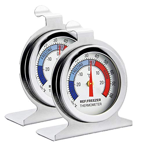 Fridge Thermometer Refrigerator Thermometer,INRIGOROUS Pack of 2 Stainless Steel Dial Fridge/Freezer Thermometer with Hanging Hook and Retractable Stand (Dial Style) from INRIGOROUS