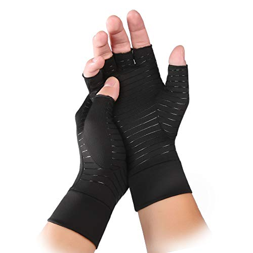 Copper Hands Arthritis Gloves Compression Gloves-Healing Pain Relief for RSI Carpal Tunnel Tendonitis Sprains from INSTINNCT
