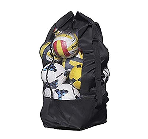 IPENNY Spacious Waterproof Net Ball Mesh Shoulder Bag Heavy Duty Equipment Duffel Bag Basketball Volleyball Soccer Rug Ball Football Carrying Bag Tote Storage Sack with Drawstring for 10-15 Balls from IPENNY